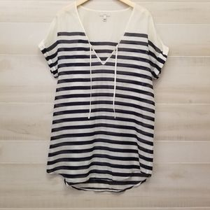 {S} J. Crew Nautical Navy Striped Swim Cover Up